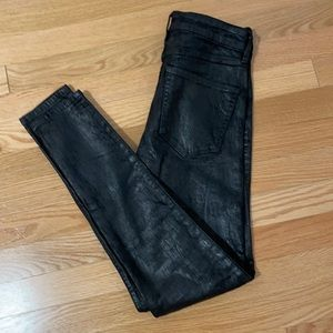 Abercrombie high rise black coated jeans